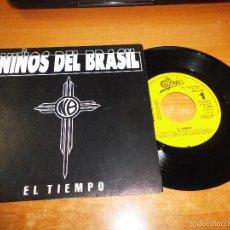 Discos de vinil: NIÑOS DEL BRASIL EL TIEMPO SINGLE DE VINILO PROMOCIONAL BUNBURY HEROES DEL SILENCIO 1 TEMA RARO. Lote 56332302