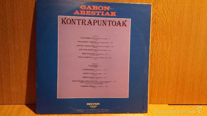 Discos de vinilo: GABON ABESTIAK. KONTRAPUNTOAK. LP / BELTER - 1982 - MBC. ***/*** - Foto 2 - 56364751