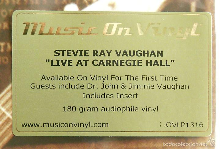 Discos de vinilo: STEVIE RAY VAUGHAN - LIVE AT CARNEGIE HALL 180g 2 LP Music On Vinyl Precintado - Foto 3 - 56369473