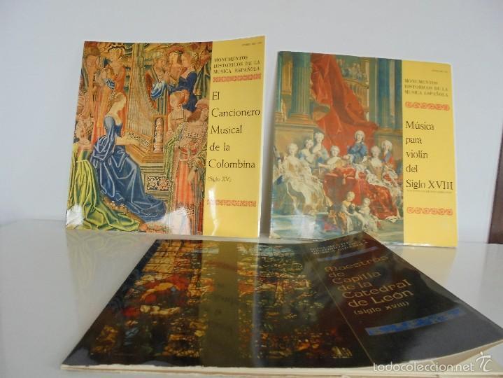 MONUMENTOS HISTORICOS DE LA MUSICA ESPAÑOLA. 3 EJEMPLARES. VER FOTOGRAFIAS ADJUNTAS. (Música - Discos - Singles Vinilo - Clásica, Ópera, Zarzuela y Marchas)