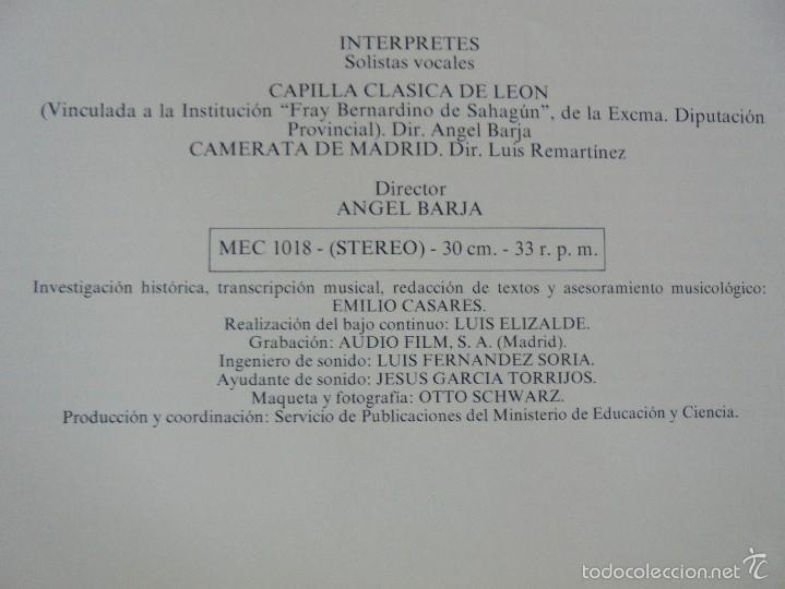 Discos de vinilo: MONUMENTOS HISTORICOS DE LA MUSICA ESPAÑOLA. 3 EJEMPLARES. VER FOTOGRAFIAS ADJUNTAS. - Foto 15 - 56377271