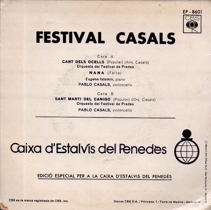 Discos de vinilo: . DISCO SINGLE FESTIVAL CASALS EL CANT DELS OCELLS NANA ST MARTI DEL CANIGO - Foto 2 - 56379374