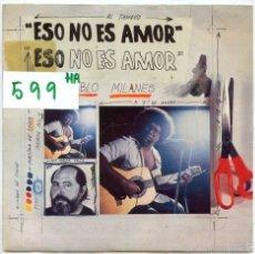 Discos de vinilo: PABLO MILANES / ESO NO ES AMOR / CUANTO GANE, CUANTO PERDI (SINGLE PROMO 1984). Lote 56461565