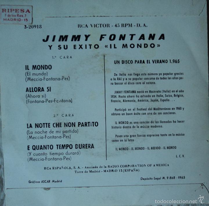 Jimmy Fontana Il Mondo Edición De 1965 De E Kaufen Vinyl