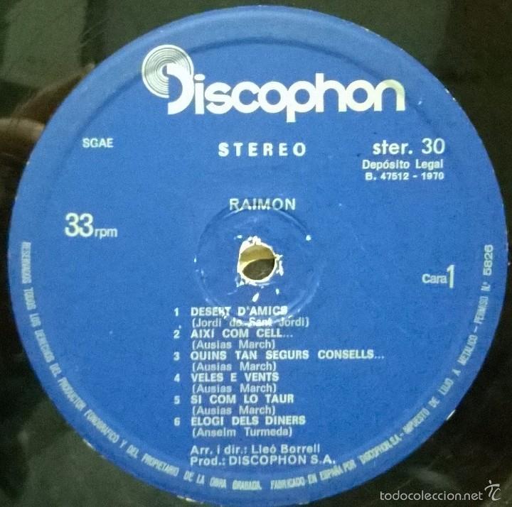 Discos de vinilo: Raimon-Per Destruir Aquell Qui Lha Desert, Discophon-STER. 30 - Foto 3 - 56487295