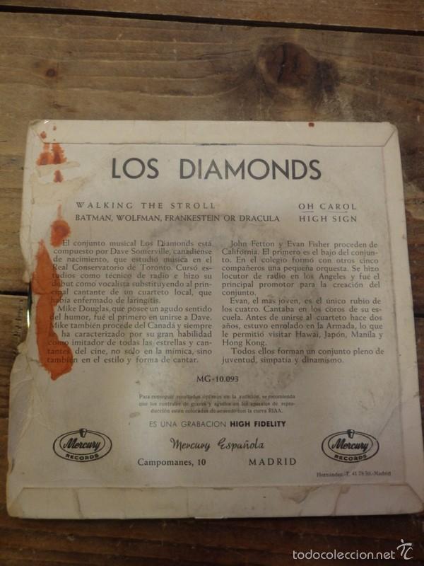 Discos de vinilo: LOS DIAMONDS -EP- OH CAROL + 3 - RARE SPAIN UNIQUE - Foto 2 - 56500819