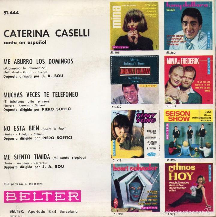 Vinyl-Schallplatten: CATERINA CASELLI canta en Español, EP, NO ESTA BIEN + 3, AÑO 1964 - Foto 2 - 56501291