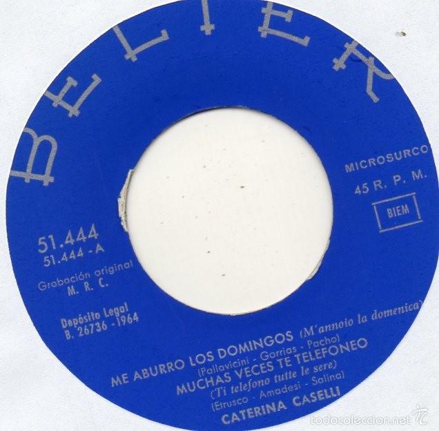 Vinyl-Schallplatten: CATERINA CASELLI canta en Español, EP, NO ESTA BIEN + 3, AÑO 1964 - Foto 3 - 56501291