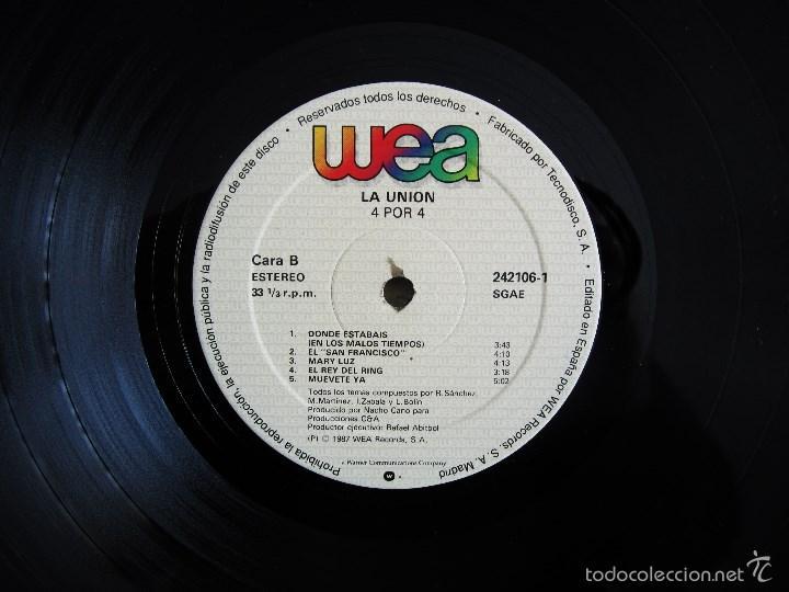 Discos de vinilo: LA UNION - 4X4 - VINILO ORIGINAL 1987 WEA PRIMERA EDICION - Foto 7 - 56501824