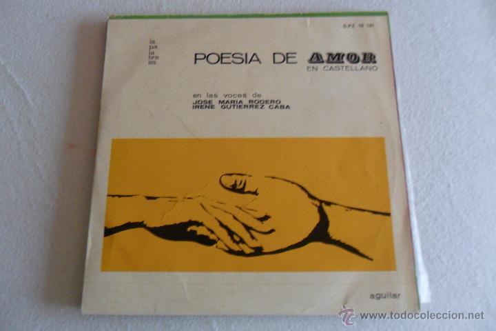 POESIA DE AMOR EN CASTELLANO - VOCES DE JOSE MARIA RODERO E IRENE GUTIERREZ CABA 1963 CON LIBRETO (Música - Discos - LP Vinilo - Otros estilos)