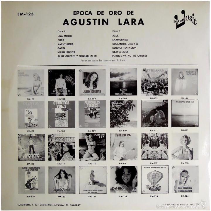Discos de vinilo: Artista desconocido – Epoca De Oro De Agustin Lara - Lp Spain 1976 - Euromusic EM-125 - Foto 2 - 56526493