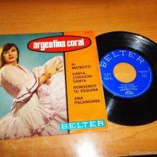 Discos de vinilo: ARGENTINA CORAL EL MATECITO / CANTA, CORAZON CANTA / RONDANDO TU ESQUINA EP VINILO 1966 BELTER. Lote 56535976
