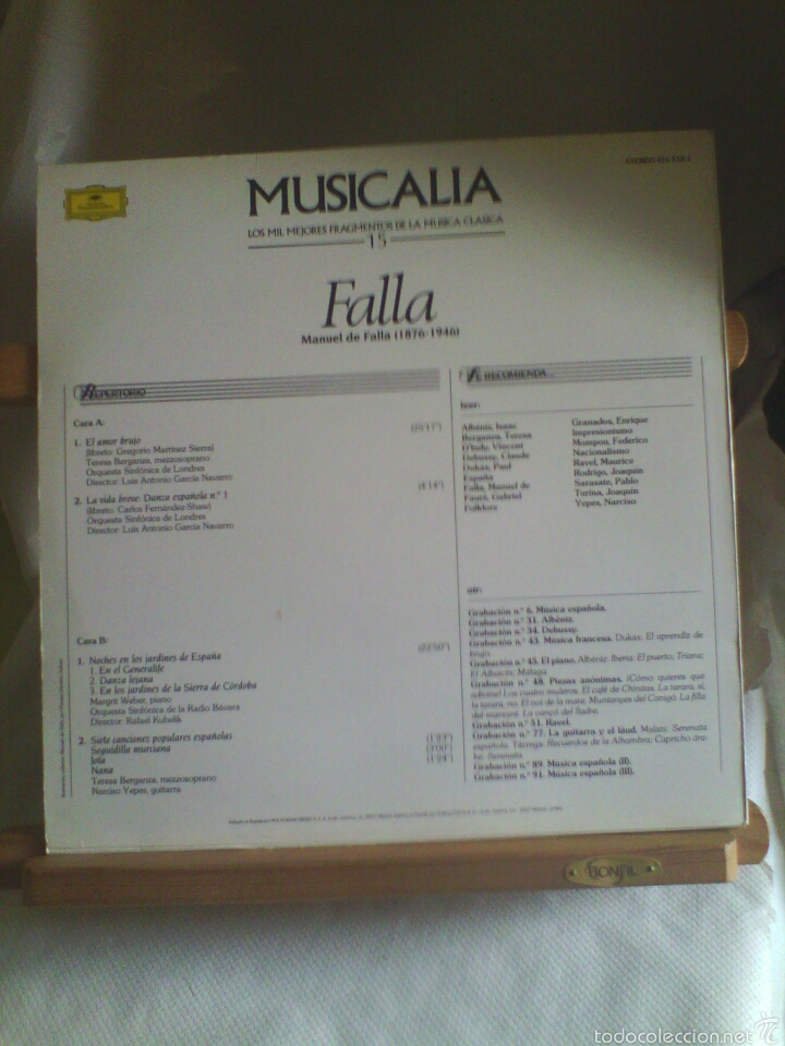 Discos de vinilo: Disco De Vinilo MUSICALIA- Manuel De Falla - Foto 2 - 56540077