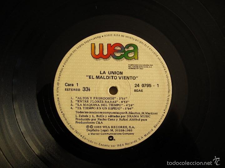 Discos de vinilo: LA UNION - EL MALDITO VIENTO - LP VINILO ORIGINAL WEA PRIMERA EDICION 1985 - Foto 6 - 56540180
