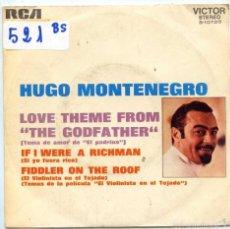 Disques de vinyle: HUGO MONTENEGRO / EL PADRINO / SI YO FUERA RICO (SINGLE PROMO 1972). Lote 56543448