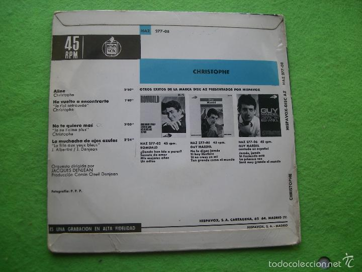 Discos de vinilo: CHRISTOPHE ALINE + 3 ep spain 1965 PDELUXE - Foto 2 - 56578527