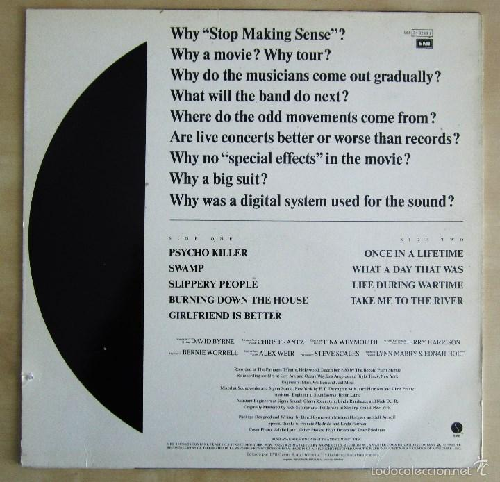 Discos de vinilo: TALKING HEADS - STOP MAKING SENSE - VINILO ORIGINAL EMI 1984 - Foto 3 - 88170475