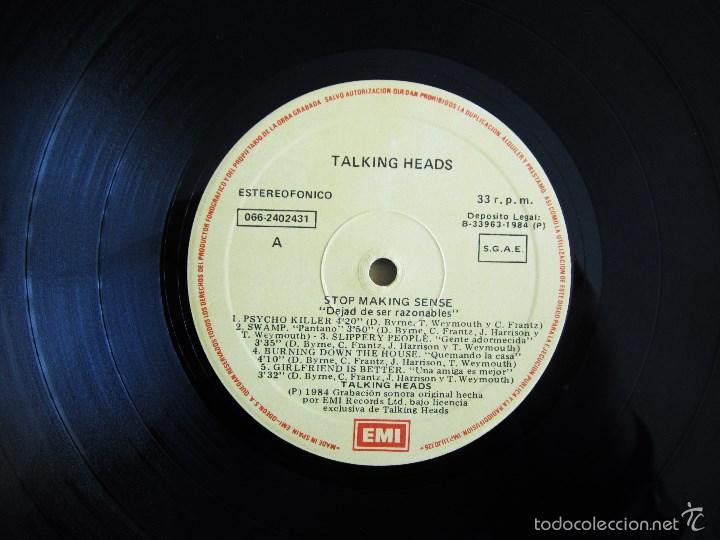 Discos de vinilo: TALKING HEADS - STOP MAKING SENSE - VINILO ORIGINAL EMI 1984 - Foto 6 - 88170475