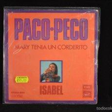 Discos de vinilo: ISABEL - PACO PECO / MARY TENIA UN CORDERITO - SINGLE. Lote 56616024