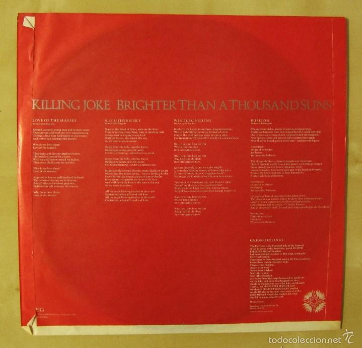Discos de vinilo: KILLING JOKE - BRIGHTER THAN A THOUSAND SUNS - VINILO ORIGINAL VIRGIN E.G MUSIC 1986 PRIMERA EDICION - Foto 7 - 56622662