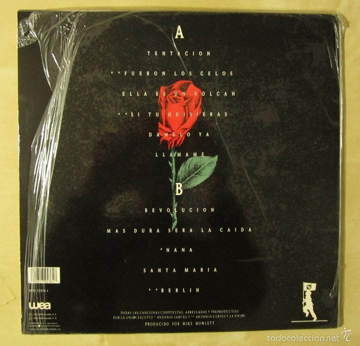 Discos de vinilo: LA UNION - TENTACION - VINILO ORIGINAL PRIMERA EDICION WEA 1990 - Foto 3 - 56622787
