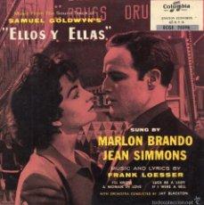 Dischi in vinile: MARLON BRANDO - PELICULA - ELLOS Y ELLAS-, EP, LA SUERTE ES MUJER + 3, AÑO 1959. Lote 213188180