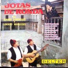 Discos de vinilo: JOTAS DE RONDA, GENARO DOMÍNGUEZ Y LORENZO NAVASCUÉS. SINGLE DE VINILO. Lote 29109914
