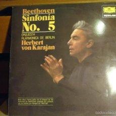 Discos de vinilo: ANTIGUO DISCO VINILO - HERBERT VON KARAJAN-SINFONÍAS NO 5 - BEETHOVEN-LP. Lote 56703526