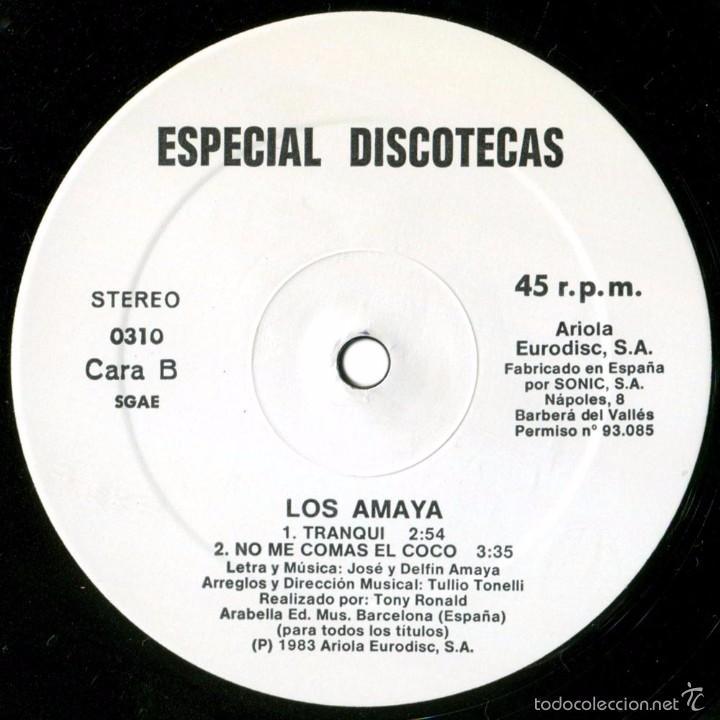 Discos de vinilo: Los Amaya (Tony Ronald) – Ahora - Maxi Promo Spain 1983 - Ariola 0310 - Foto 4 - 56705487