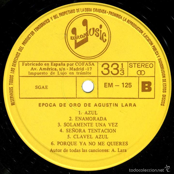 Discos de vinilo: Artista desconocido – Epoca De Oro De Agustin Lara - Lp Spain 1976 - Euromusic EM-125 - Foto 4 - 56526493