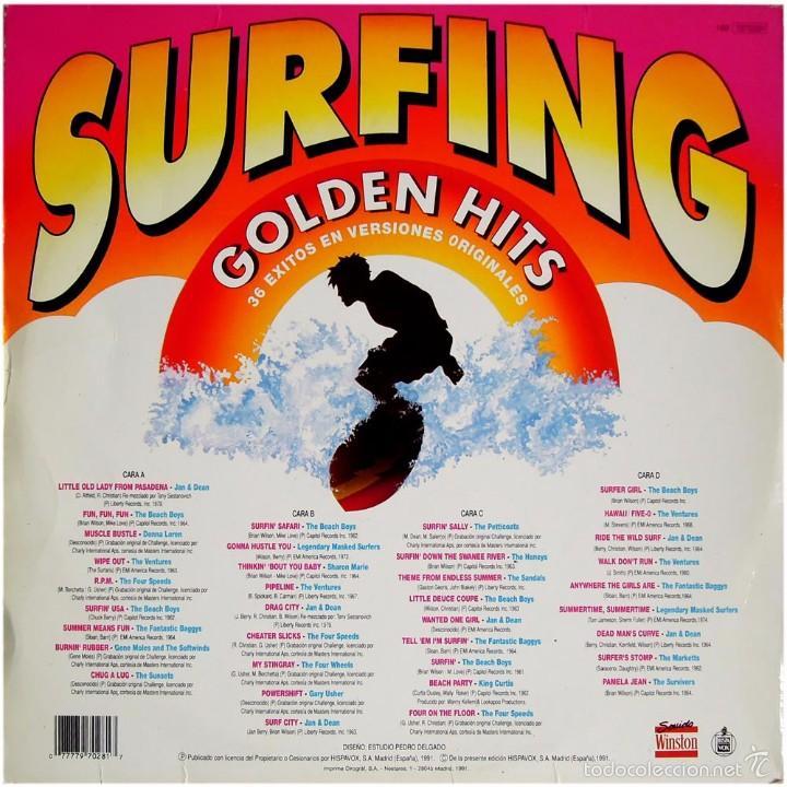 Discos de vinilo: VVAA - Surfing Golden Hits - 2 LP Comp. Spain 1991 - Hispavox 7970281 - Foto 2 - 56807550