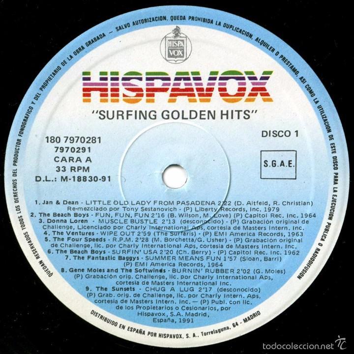 Discos de vinilo: VVAA - Surfing Golden Hits - 2 LP Comp. Spain 1991 - Hispavox 7970281 - Foto 3 - 56807550