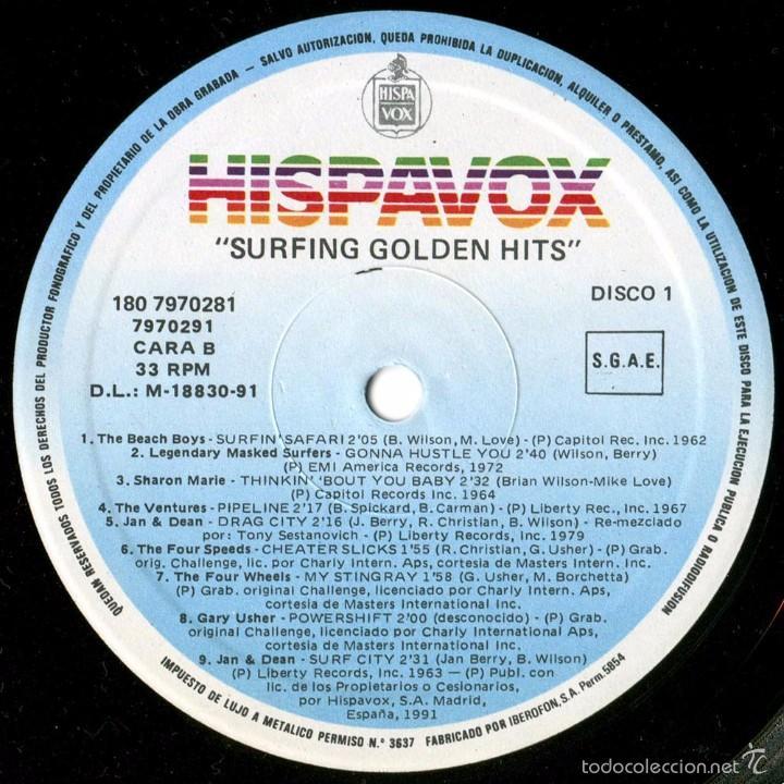 Discos de vinilo: VVAA - Surfing Golden Hits - 2 LP Comp. Spain 1991 - Hispavox 7970281 - Foto 4 - 56807550