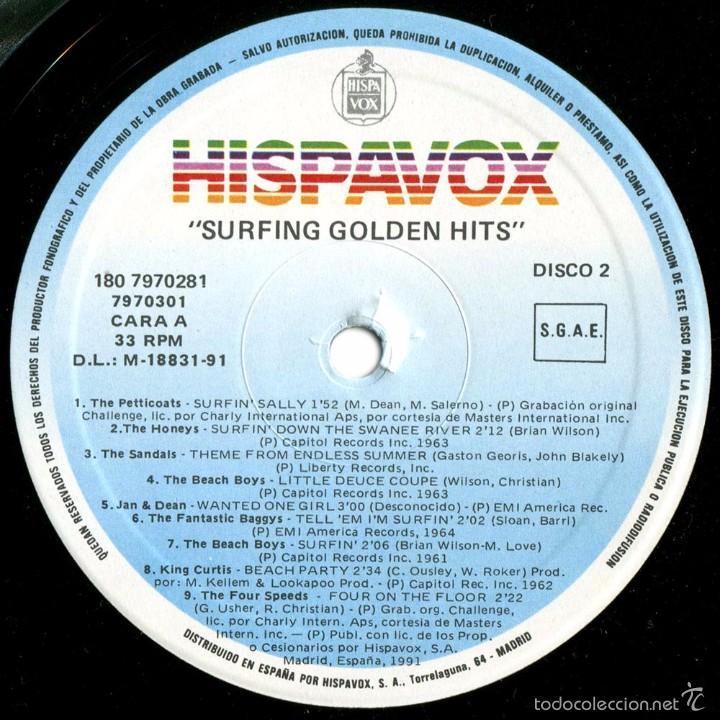 Discos de vinilo: VVAA - Surfing Golden Hits - 2 LP Comp. Spain 1991 - Hispavox 7970281 - Foto 5 - 56807550