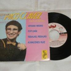 Discos de vinilo: PACO CLAVEL 7´EP VERANO NEGRO + 3 TEMAS (1988) PROMOCIONAL DE RADIO -COMO NUEVO-. Lote 56852550