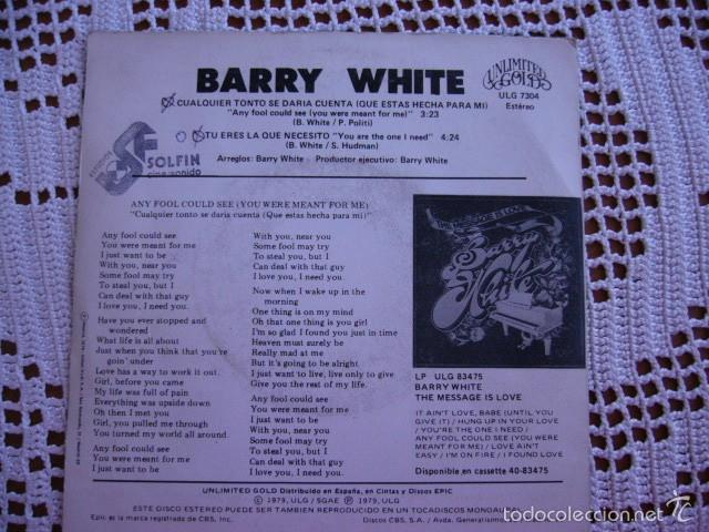 Discos de vinilo: Barry White Cualquier tonto se daría cuenta EP 1979 - Foto 2 - 56854862