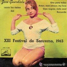 Discos de vinilo: JOSE GUARDIOLA XIII FESTIVAL DE SAN REMO, 1963. Lote 56860223