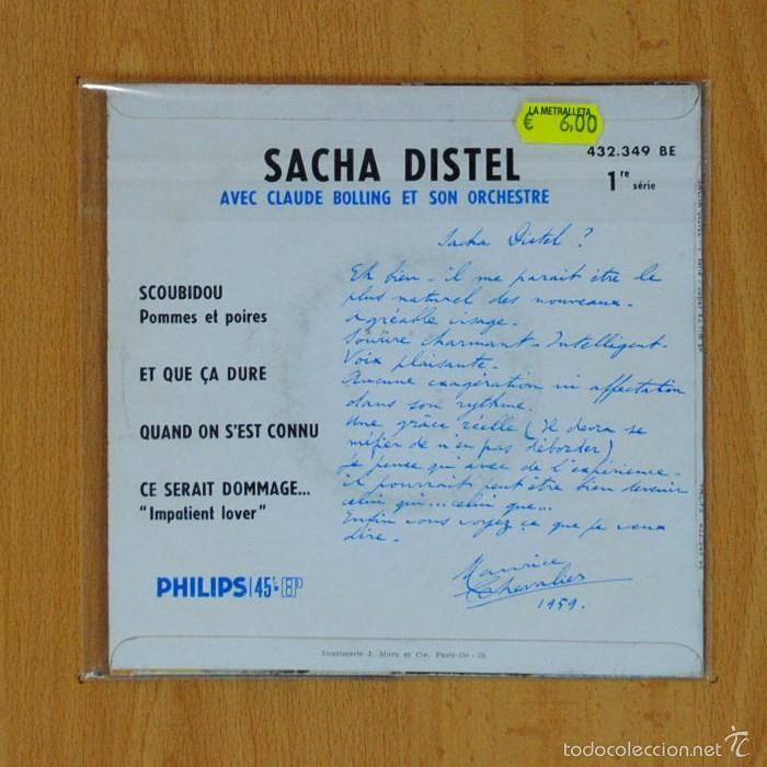 Discos de vinilo: SACHA DISTEL - SCOUBIDOU + 3 - EP - Foto 2 - 56898101