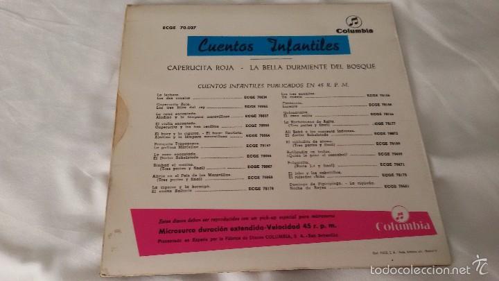 Discos de vinilo: DISCO VINILO. CUENTOS:CARA A: CAPERUCITA ROJA. CARA B: LA BELLA DURMIENTE DEL BOSQUE. COLUMBIA - Foto 2 - 56899585