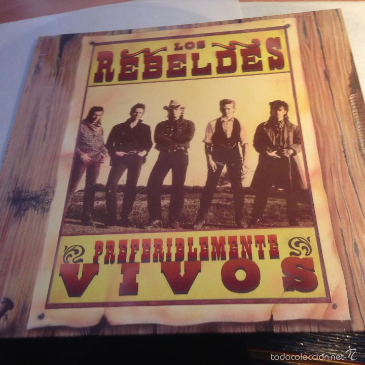 Discos de vinilo: LOS REBELDES (PREFERIBLEMENTE VIVOS) 2 LP ESPAÑA 1990 (VINA) - Foto 2 - 56927294