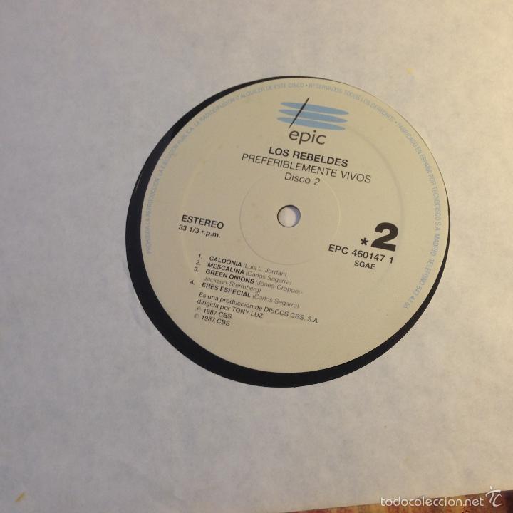 Discos de vinilo: LOS REBELDES (PREFERIBLEMENTE VIVOS) 2 LP ESPAÑA 1990 (VINA) - Foto 3 - 56927294