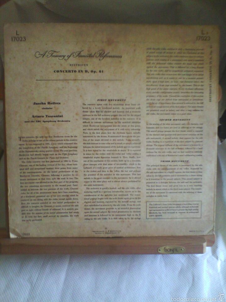 Discos de vinilo: Disco De Vinilo BEETHOVEN - Concerto In D. Major Opus 61 (Printed in USA. Sin fecha) - Foto 2 - 56943556
