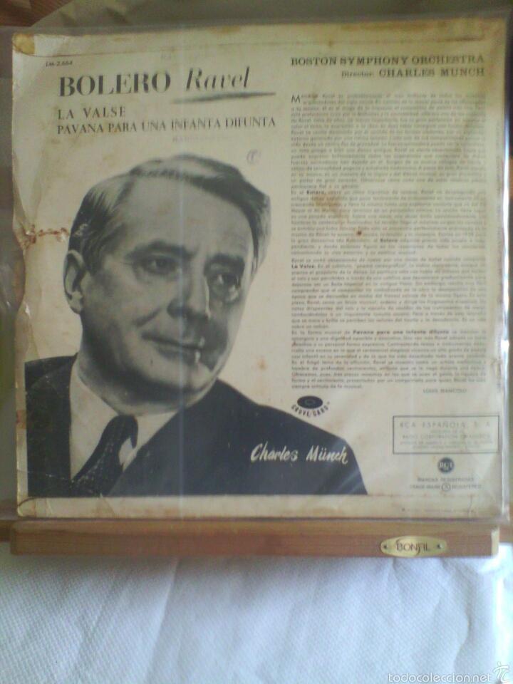 Discos de vinilo: Disco De Vinilo RAVEL: BOLERO / La Valse / Pavana Para Una Infanta (Edición Española, 1964) - Foto 2 - 56943838