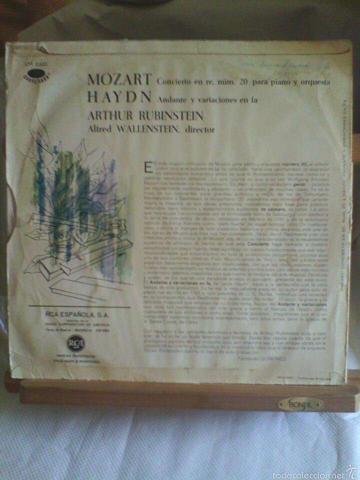 Discos de vinilo: Disco De Vinilo ARTHUR RUBINSTEIN - Mozart / Haynd (Edición Española, 1964) - Foto 2 - 56943924