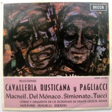 Discos de vinilo: PAGLIACCI (LEONCAVALLO) / CAVALLERIA RUSTICANA (MASCAGNI) - SELECCIONES - LP DECCA 1963 BPY. Lote 56961521