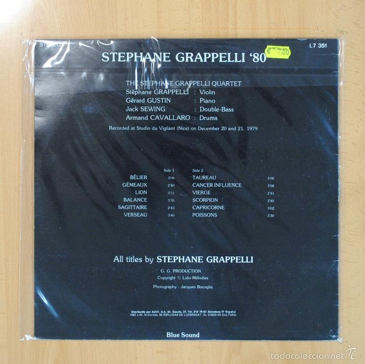 Discos de vinilo: STEPHANE GRAPPELLI - EL STEPHANE GRAPPELLI DE LOS AOS 80 - LP - Foto 2 - 56966028