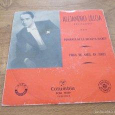 Discos de vinilo: ALEJANDRO ULLOA. RECITADOS. ROMANZA DE LA INFANTA ISABEL. FERIA DE ABRIL EN JEREZ. Lote 56977507