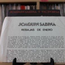 Discos de vinilo: JOAQUIN SABINA -SG- REBAJAS DE ENERO 80'S SPAIN PROMO + HOJA RADIO. Lote 56992932