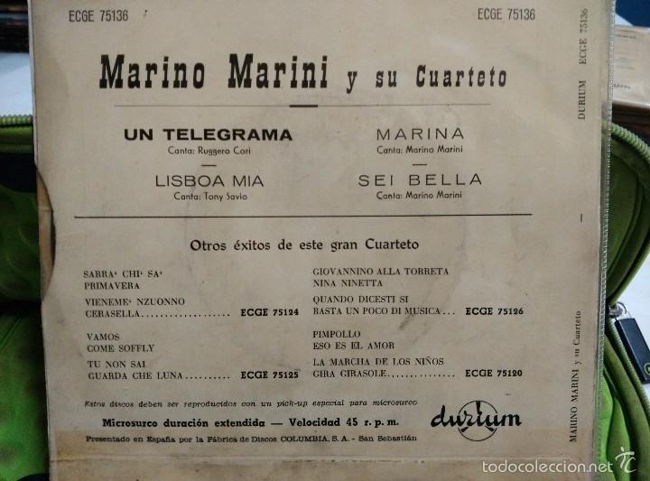 Discos de vinilo: MARINO MARINI EP un telegrama - Foto 2 - 57011322