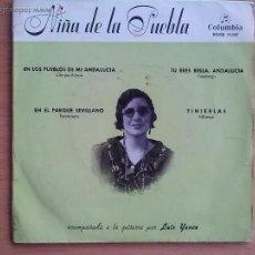 Discos de vinilo: NIÑA DE LA PUEBLA. EN LOS PUEBLOS DE MI ANDALUCIA Y 3 +. COLUMBIA 1959.. Lote 57056636